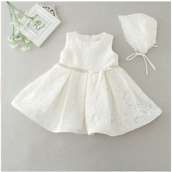 "The ""Maisley"" Lace Dress Flower Girl Party Dress + Bonnet - Off White"