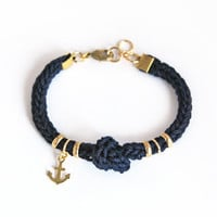 Navy blue bracelet with anchor charm and knot, anchor bracelet, blue knit bracelet, blue cord bracelet