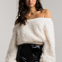 AMMO X AKIRA Faux Fur Fluffy Off Shoulder Crop Sweater in Off White