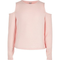 Girls pink cold shoulder top