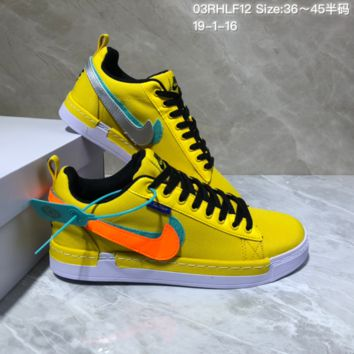 DCCK N970 Nike Lunar Force 1 Duck Boot Low Magic stick change hook recreational board shoe Yellow