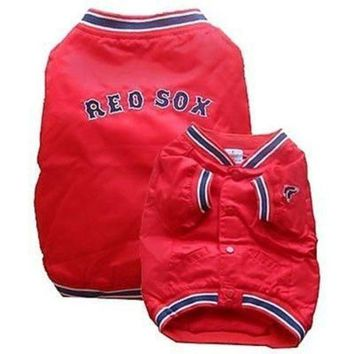 spbest Boston Red Sox Dog Dugout Jacket