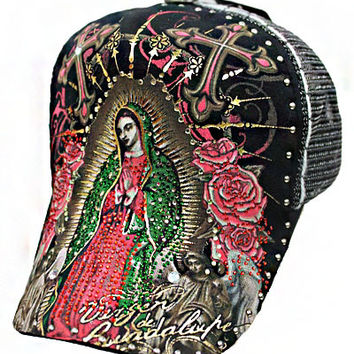 * La Virgin De Guadalupe Cap In Black