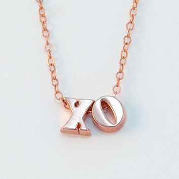 XO - Rose Gold Hug and Kiss Necklace - Lowercase Solid 14K Rose Gold Letters - XO Necklace - Bridesmaid Gifts