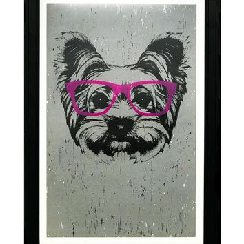 """Yorkshire Terrier with Pink Glasses Art Print / Poster - 13x19"""""""