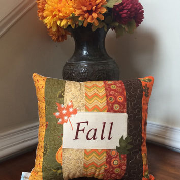 Quilted Fall pillow, Autumn pillow, Applique pillow