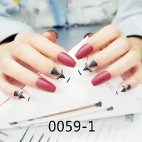 New Ballerina Coffin Nail Tips Red False Nail Full Nails Coffin Shape Matte White with Black Geometric Shapes Fake Nails Tips