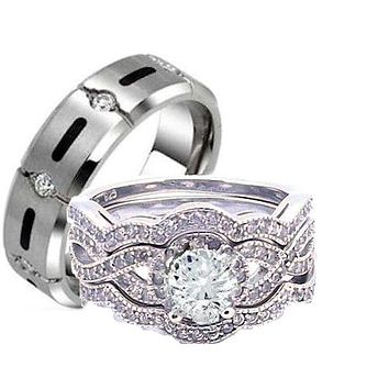 His Hers 4 Piece Cz Infinity STERLING SILVER & TITANIUM  Wedding Rings Set