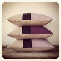 Purple Linen Colorblock Pillow with Navy Stripe - Spring Home Decor - Decorative Pillow - Striped Pillow - African Violet - Plum