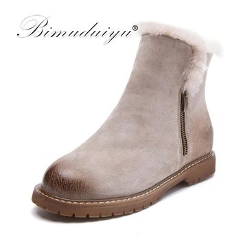 BIMUDUIYU Women Winter Boots New Arrival Genuine Leather Snow Boots Pig Suede Plush Cashmere Warm Ankle Boots Casual Flats Shoes