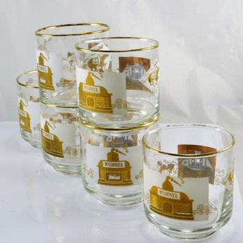 McCormick Rocks Glasses Set of 6 Gold White Vintage Mid Century Whiskey Old Fashion Barware Retro Pony Express Stagecoach Distillery