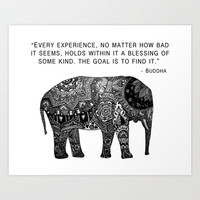 Buddha Quote with Henna Elephant Art Print by Madeline Margaret