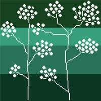 Modern cross stitch negative silhouette of Queen Anne's lace. Contemporary cross stitch pattern