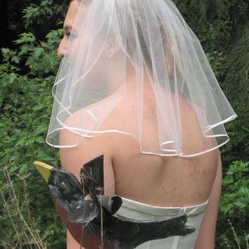 "18"" Shoulder Length Wedding Veil with 1/8"" Flat Satin Ribbon Edge"