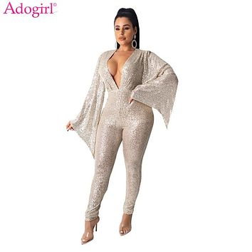 Adogirl Women Fashion Sexy Flare Sleeve Sequins Jumpsuit Deep V Neck Party Romper Night Club Overalls Performance Outfits