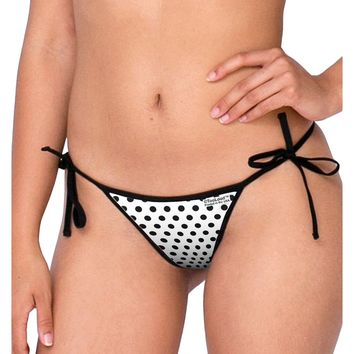 Black Polka Dots on White Swimsuit Bikini Bottom All Over Print by TooLoud
