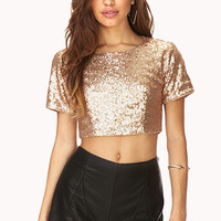 Fancy Sequined Crop Top