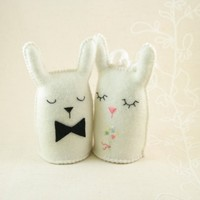 Bunny wedding cake topper or ringbearer's couple by PlanetFur