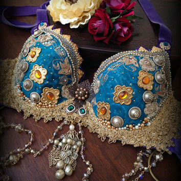 Tribal Fusion Bra in Teal Gold and Purple Embellished Bra with Vintage Flowers and Pearls Tribal Belly Dance Bra Tribal Fusion Costume Bra