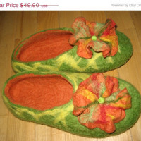 SALE Felted ladies flower slippers, wool, green, orange, yellow, non slip, size 7.5.