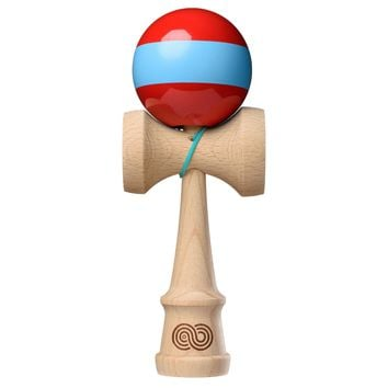 Tribute x Kaizen 2.0 Mashup Kendama - Red w/ Light Blue Stripe -Maple