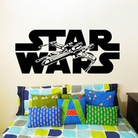Wall Decals Vinyl Sticker Decal Art Home Decor Mural Star Wars Logo Xwing X-Wing Fighter Children Nursery Room Bedroom Office Window AN237