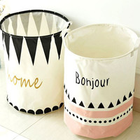 Foldable Linen Laundry Basket Waterproof Letters Print Toy Orgnizer Clothes Storage Bag Fold Binorganizador Home Decor  BD-12