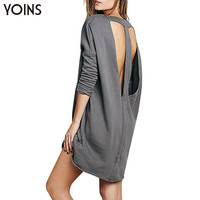 New Arrival Women Fashion Long Sleeve Hollow Out Sweatshirt Dress Casual O-neck Loose Dress with Cut Out Back