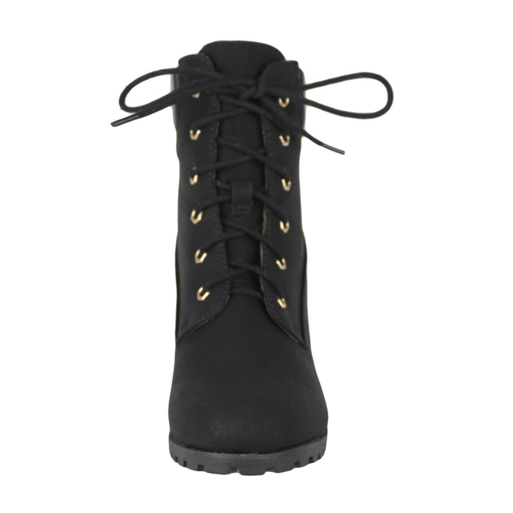 e0a37b6be8c6 Womens Ankle Boots Rugged Lace Up High Heel Shoes Black