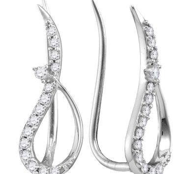 10kt White Gold Womens Round Diamond Climber Earrings 1/5 Cttw