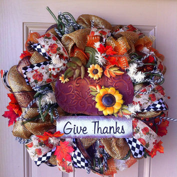 Thanksgiving Fall Pumpkin Deluxe Deco Mesh Wreath