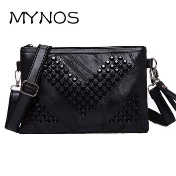 Diamond Genuine Leather Women Messenger Bag Zipper Small Crossbody Bag Women Vintage Clutch Bag Ladies Purse For Women Black