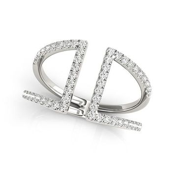 14K White Gold Open Style Dual Band Ring with Diamonds (1/2 ct. tw.)