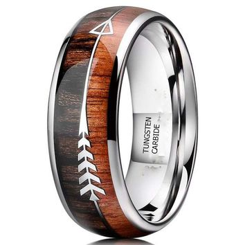 CERTIFIED 8mm Tungsten Koa Wood Zebra Wood Arrows Inlay Vikings Hunting Ring