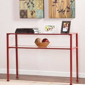 Metal/Glass Console Table - Red