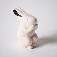 T-lab Handcarved Wood Rabbit