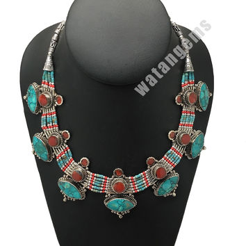 Ethnic Tribal Green Turquoise & Red Coral Inlay Boho Statement Necklace, NPN67