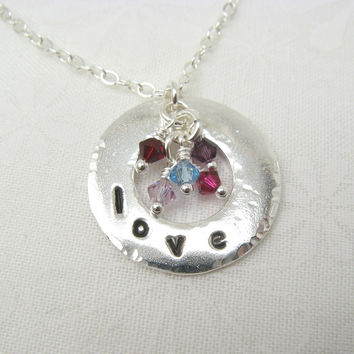 Embrace Silver Necklace for Mothers or Grandmothers