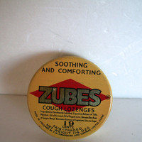 Vintage Tin Zubes Cough Lozenges Has Wear Aging Scratches Measures 2 And 3/8   X  1/2 Inches