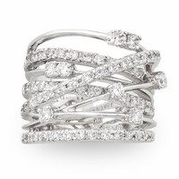 JanKuo Jewelry Silver Tone Cubic Zirconia Wide Band Cocktail Ring with Gift Box, Size 8