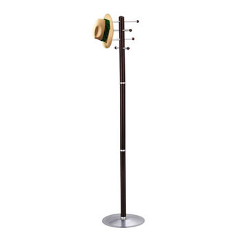 Safco Clothes Garment Hanging Wood Coat Rack Stand Mahogany