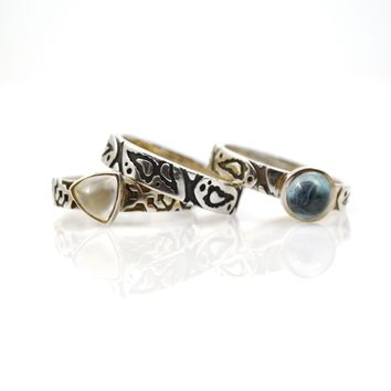 Sterling Silver Stack of 3 Rings with Moonstone and Blue Topaz Size 6