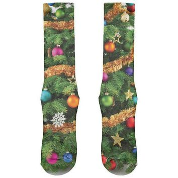 ICIK8UT Christmas Tree All Over Crew Socks