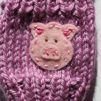 Cute Toddlers Gloves, Fingerless Gloves, Cute Piglet, Pink Piggy, Precious Pig, Small Cute Kids