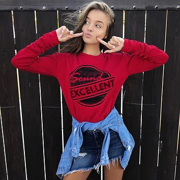 Pullover Women's Fashion Alphabet Print Red Slim Long Tops [167762395151]