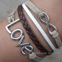 Infinity LOVE lovers  Bracelet--silver8 infinity wish and love leather bracelet-- white and beige wax rope and brown Leather bracelet