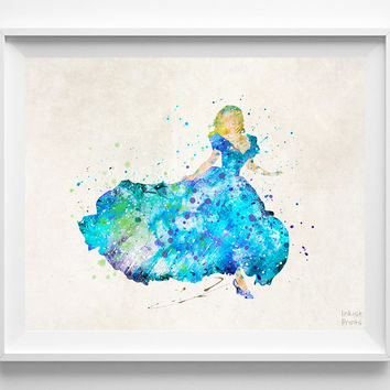 Cinderella Print, Cinderella Watercolor Art, Type 2, Disney Poster, Playroom Art, Decor Idea, Home Town, Giclee Print, Halloween Decor