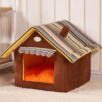 PEAP2Q new fashion striped removable cover mat dog house dog beds for small medium dogs pet products house pet beds for cat