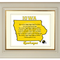 Iowa Hawkeyes Football Art Print State Map Outline Fight Song 8x10 Gift Home Decor