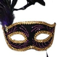 Assorted Black Venetian Masquerade Mask with Red and Black or Purple and Black Feathers